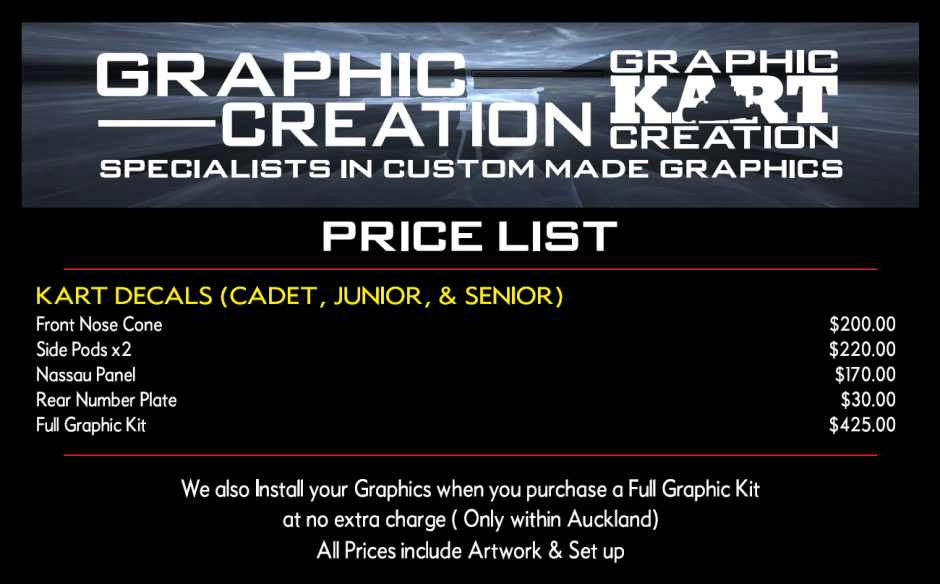 Price list for MX Graphics for Graphic Creation for Karts